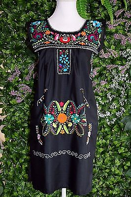 Extra Small/small Black With Colorful Hand Embroidered Mexican Dress