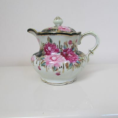 Vintage Nippon Hand Painted Porcelain Creamer With Lid Tea Party Roses Gold Trim