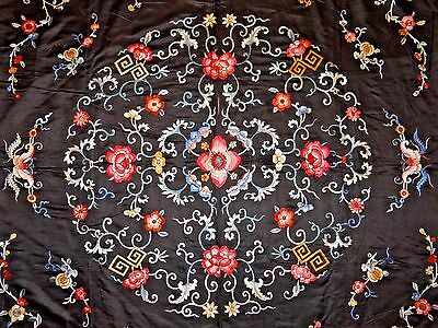 Late 19th/Early 20th C. Ching Dyn Chinese Silk Embroidered Kang Panel-- LARGE!!