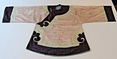 19th C. Qing [Ching] Dynasty Chinese Silk Embroidered Lady's Mandarin Robe