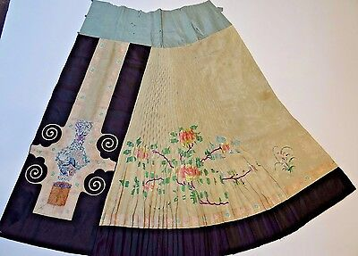 19th C. Qing [Ching] Dynasty Chinese Silk Embroidered Partial Skirt