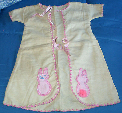 Vintage Baby's or Doll's Flannel Pink Trimmed Kimona w/ Appliqued Bunny Rabbits