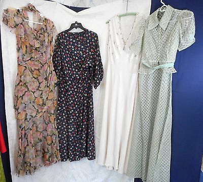 Four 1920s Vintage Dresses Lot for repair, study, restyling, doll clothes fabric