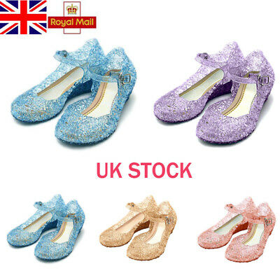 UK Girls Kids Shinny Princess Elsa Cosplay Dress Up Sandals Princess Jelly Shoes