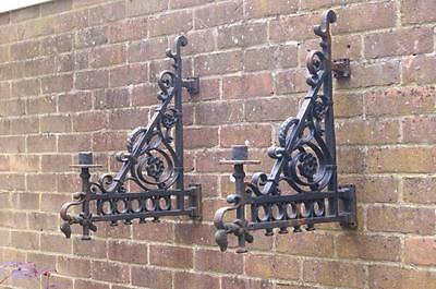 VICTORIAN Reclaimed Pair of ANTIQUE CAST IRON LANTERN HOLDER Wall/Post BRACKETS