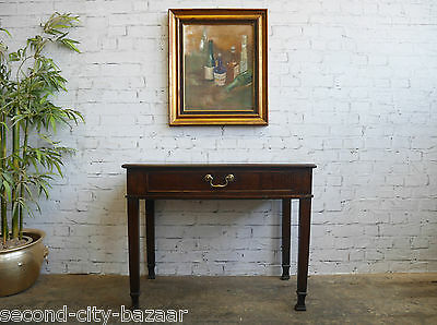 Antique Rustic Georgian Provincial Country Oak Side Hall Table Lowboy Drawer
