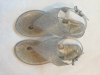 Girls Size 1-2 Silver Clear Glitter Summer Jelly Sandals