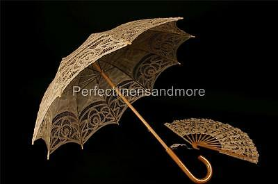 Beige Parasol with curved handle and matching hand Fan