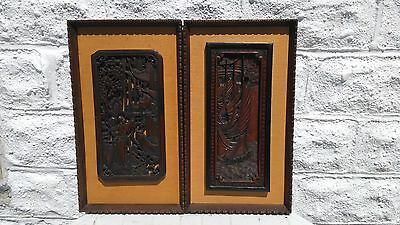 LOT 2 ANTIQUE VINTAGE CHINESE ASIAN WOOD CUT HAND CARVED WALL PANEL EARLY 20th ?