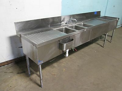 """LA CROSSE"" H.D. COMMERCIAL S.S. 3 COMPARTMENT UNDER COUNTER BAR SINK w/FAUCET"