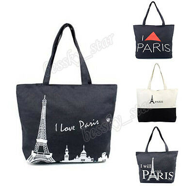 Women Canvas Paris Eiffel Tower Handbag Shopping Shoulder Bag Bookbag Tote CA
