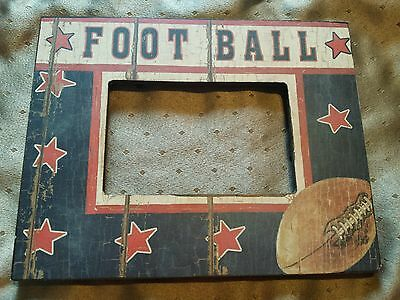 """Wood """"FOOTBALL"""" Picture Frame (Arts/Crafts/Home Decor/Children's Style)"""