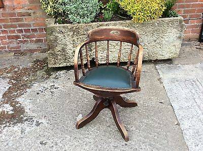Antique Vintage Oak Swivel Captains Chair In Great Condition For Age...