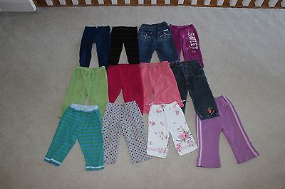 Lot of 12 Toddler Girls Pants Jeans Size 18 Months