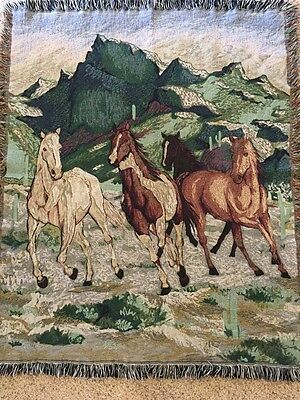 Wild Horse Cotton Throw Jacquard Tapestry with mountains beautiful 54x43