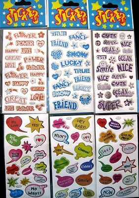 Bulk Lot x 6 Mixed Small Sticker Sheets 100 Stickers New Party Favors Free Post