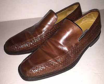 Johnston & Murphy Brown Woven Leather  Slip-On Shoe Loafer Oxford 10.5 M