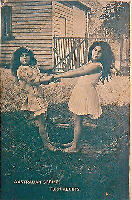 VINTAGE POSTCARD.CHILDREN.AUSTRALIAN SERIES EARLY 1900's.'TURN ABOUTS'