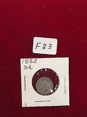 1852  Silver 3 Cent  Decent Circulated F83