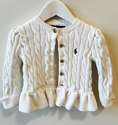 Baby Ralph Lauren Cable Stitch Knit White Cardigan - 12 Months (paid $120)