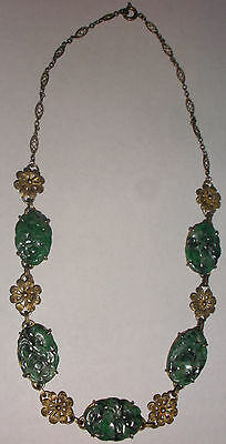 Fine Antique Chinese Carved jade sterling silver filigree flowers necklace