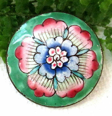 Stunning Antique Chinese Enamel Button With Large Flower T46
