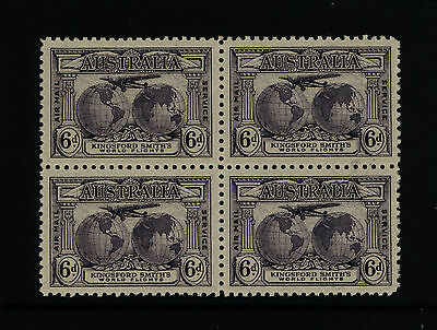 Australia Stamps - 1931 6d Kingsford Smith AIRMAIL in Block of 4 - MNH