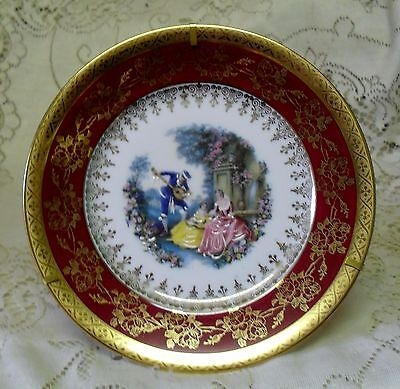 LIMOGES RED SERENADE 16cm DISPLAY PLATE WITH STAND MADE IN FRANCE