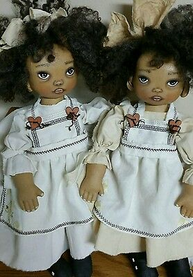 "Primitive folk art black sister dolls ""Haley"" & ""Cissy""/ swivel heads/14"""