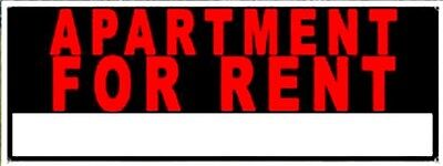 "APARTMENT FOR RENT vinyl banner bRiGhT & BiG 18"" x 48"" red on black Window Sign"