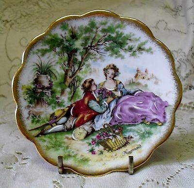 Limoges Monarch Fragonard Courting Couple Miniature Plate Made In France