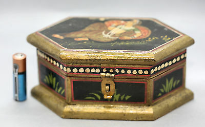 Lovely Vintage Hand Painted Handmade Wooden Box Made In India