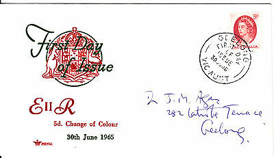 1965 - Australia - 5d Red QEII Definitive - First day cover