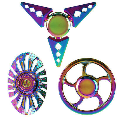 Rainbow Metal Hand Finger Spinner Fidget EDC Focus Toy for Kid Adults ADHD Gift