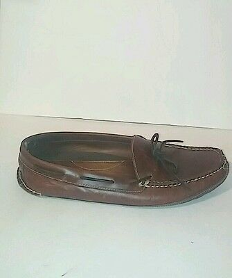 LL BEAN men leather slippers brown size 12(US)M (46eur) rawhide adjustable laces