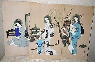 VINTAGE Hand-Painted WOOD PANELS - Japanese MOTHER & CHILD - Set of 3
