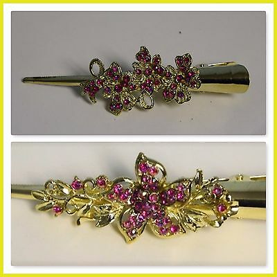 Beautiful Pair of Designer Hair Clip Pin Band Gold And Silver plated with CZ