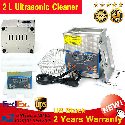 Volume 2L Stainless Steel Ultrasonic Cleaner Dental Tank Timer Heated Cleaning