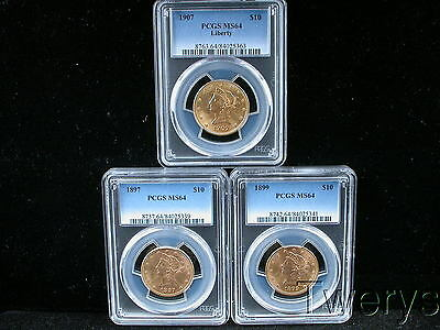 Lot Of 3 Different Pieces Liberty Head Gold $10 Eagles Pcgs Ms 64