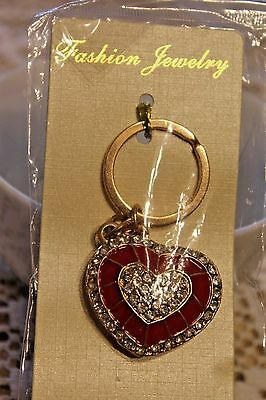 GIFT Key Chain Ring Charm Crystal Purse Pendant RED HEART Fashion Accessory