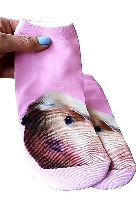 Pair of Pale Pink Guinea Pig Print Ankle Socks by Crazy Guinea Pig Lady