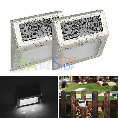 2X LED Solar Power Powered Door Fence Wall Light Outdoor Garden Shed Lighting