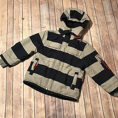 Mini Boden 5-6 Year Boys Stripe Navy Gray Puff Hooded Fleece Lined Jacket Coat