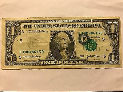 $$ One Dollar Bill Shifted stamp $1 misprinted 2003 $$