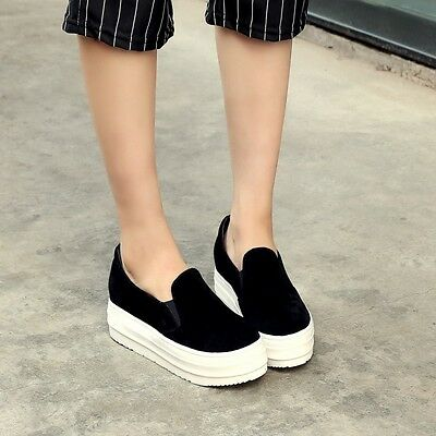 Ladies Girls Platform Faux Suede Flatform Slip On Sneakers Shoes Pumps Loafers