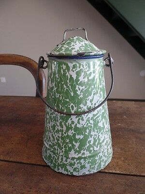Antique French Green White Enamelware Graniteware Milk Pot