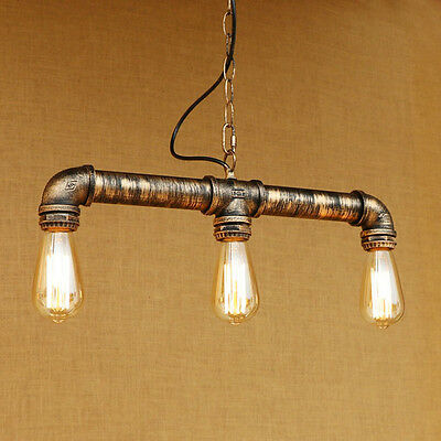 Industrial Steampunk Lighting Iron Pipe Edison Bulb Ceiling Bar Light with Chain