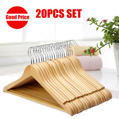 20/40PCS Wooden Coat Hangers Sets Walnut Wardrobe Trousers Bar Dress Pant Hanger