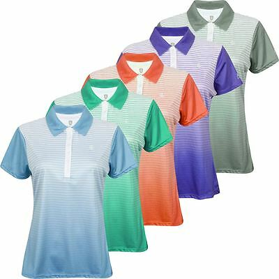 Ladies Island Green 2017 CoolPass Sublimated Stripe Womens Golf Polo Shirt