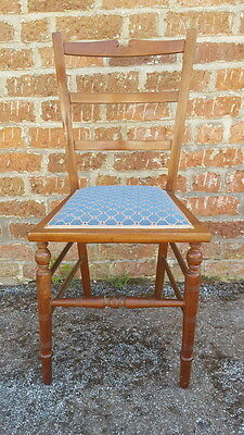 A Very Pretty Antique Edwardian Mahogany Bedroom Chair with Blue Seat Fabric